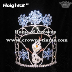 Wholesale Custom Crystal Frozen Olaf Pageant Crowns With Snowflak