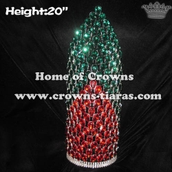 20in Big Tall Red Green Diamond Pageant Crowns