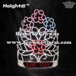 8in Height Flower Shaped Pageant Crystal Crowns