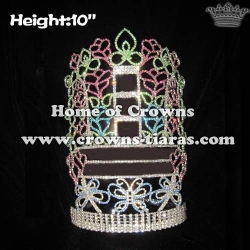 10in Height Custom Crystal Rose Shaped Pageant Crowns With Butterfly