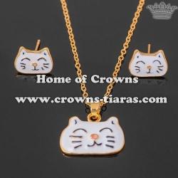 Gold Crystal Lovely Cat Pendant Earrings Set