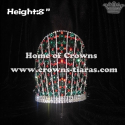 8in Height Green And Red Diamond Christmas Crowns