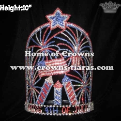10in Height Crystal Red White Blue Forth Of July Pageant Crowns