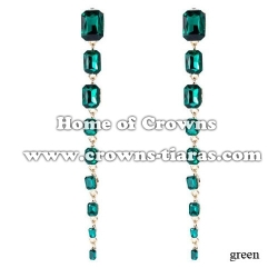 Fashion Long Earrings With Red Diamonds