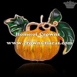 Alloy Crystal Gold Plated Halloween Pumpkin Brooch Pins