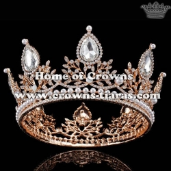 Wholesale Alloy Crystal Full Round Pearl Queen Crowns