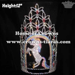 12in Height Unique Crystal Unicorn Pageant Crowns