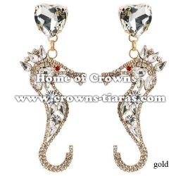 Wholesale Crystal Rhinestone Horsefish Earrings