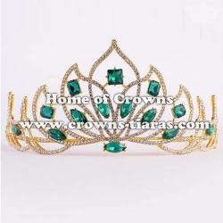 Stock Bridal Wedding Tiaras With Green Diamonds