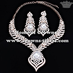 Unique Crystal Necklace Set With Heart Drop Pendant
