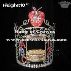 Back To School Crystal Pageant Crowns With Apple Shaped