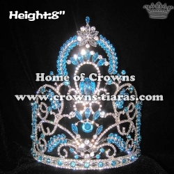 8in Height Crystal Pageant Queen Crowns With Blue Diamonds