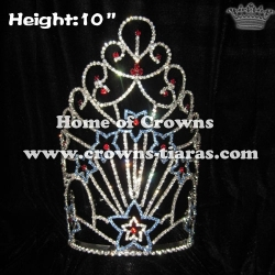 10in Height Blue Star Pageant Crowns With Red Diamonds