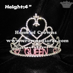 Heart Shaped Letter QUEEN Pageant Rhinestone Crowns