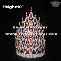 10inch Height White Red Blue Crystal Pageant Crowns