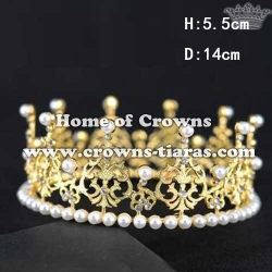 Round Crystal Birthday Cake Crowns With Pearls