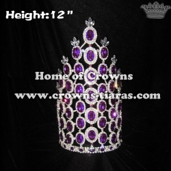 12inch Purple Diamond Wholesale Rhinestone Crowns