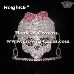 Crystal Skull Pageant Crowns With Bowknot
