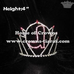4inch Boot Shoe Pageant Pink Crystal Crowns