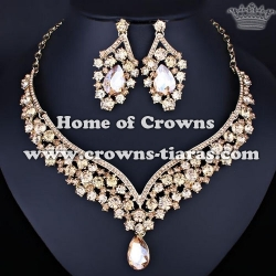 Crystal Pink Diamond Queen Necklace Sets