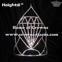 8in Height Rhinestones Diamond Shaped Pageant Crowns