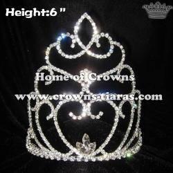 6inch Heart Rhinestone Crowns