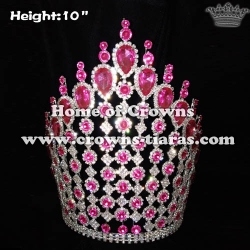 10in Big Tall Pageant Crowns With Pink Diamonds