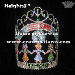 8in Height Crystal One Globle Pageant Crowns