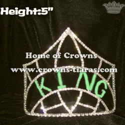 Wholesale Green Rhinestone KING Crown Boy Crowns