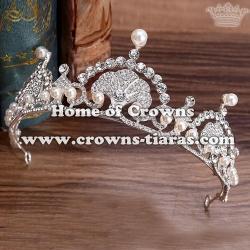 Gold Wedding Tiaras With White Pearls