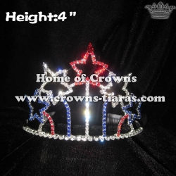 Red White Blue Star Shaped 4th Of July Pageant Crowns
