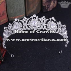 Alloy Crystal Bridal Queen Crowns With Zircon Diamonds