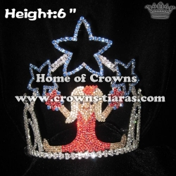 6in Height Crystal Cheer Leader Beauty Pageant Crowns