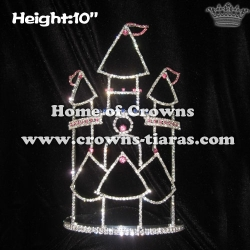 Wholesale 10in Height Crystal Castle Queen Crowns