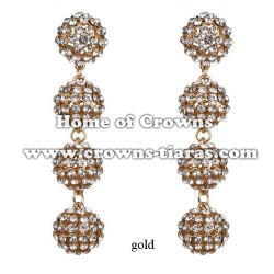 Fashion Crystal Round Ball Party Earrings