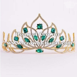 Wedding Crystal Tiaras With Green Diamond