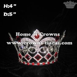 Wholesale Full Round Crystal King Crown With Red Diamonds