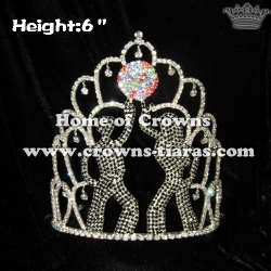6in Unique Disco Crystal Custom Pageant Crowns