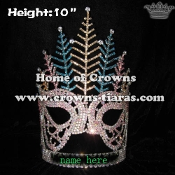 10in Crystal Mask Pageant Crowns With Colored Feather