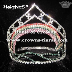 5in Heigth Rainbow Pageant Crystal Crowns
