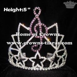 Wholesale Custom Music Note Crystal Pageant Crowns