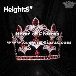 5inch Red Crystal Fleur De Lis Pageant Crowns