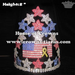 Red Blue White Crystal Forth Of July Pageant Crowns With Ribbon