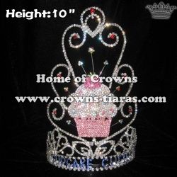 10in Height Crystal Rhinestone Cupcake Crowns