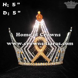 Custom Wholesale Gold Ribbon Round Crowns