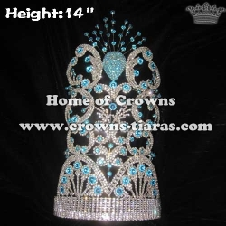14in Height Large Pageant Crowns With Blue Diamonds