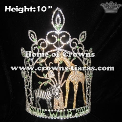 10in Height Crystal Jungle Giraffe Pageant Crowns