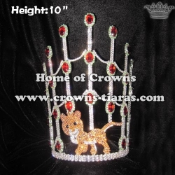 Crystal Leopard Pageant Crown With Red Diamonds