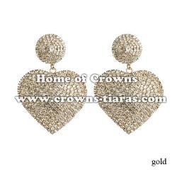 Fashion Heart Shaped Solid Rhinestone Earrings