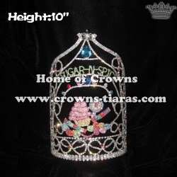 Wholesale Custom Crystal Cupcake Pageant Crowns With Lollipops